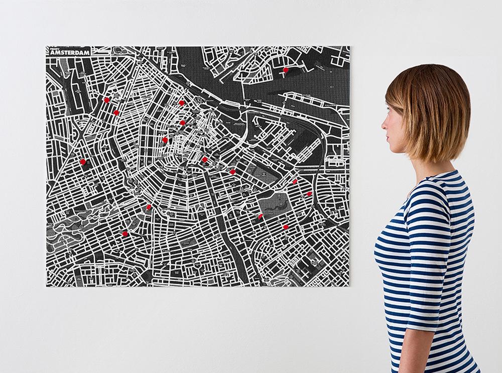amsterdam-black χάρτης τοίχου Αμστερντάμ