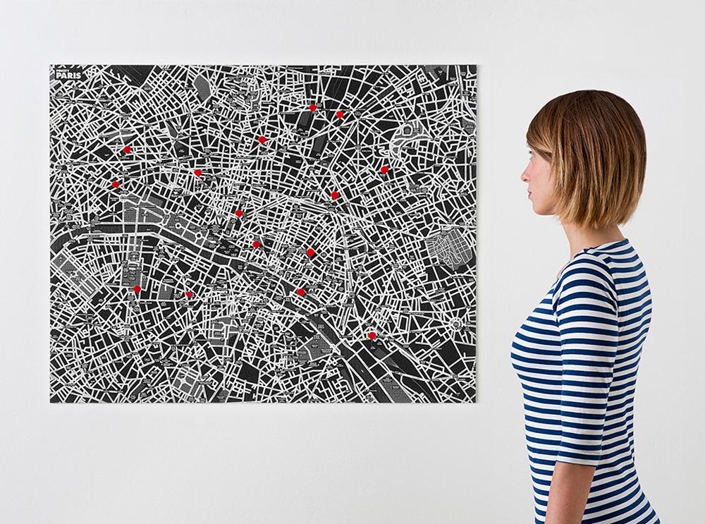paris-black χάρτης τοίχου Παρισίου