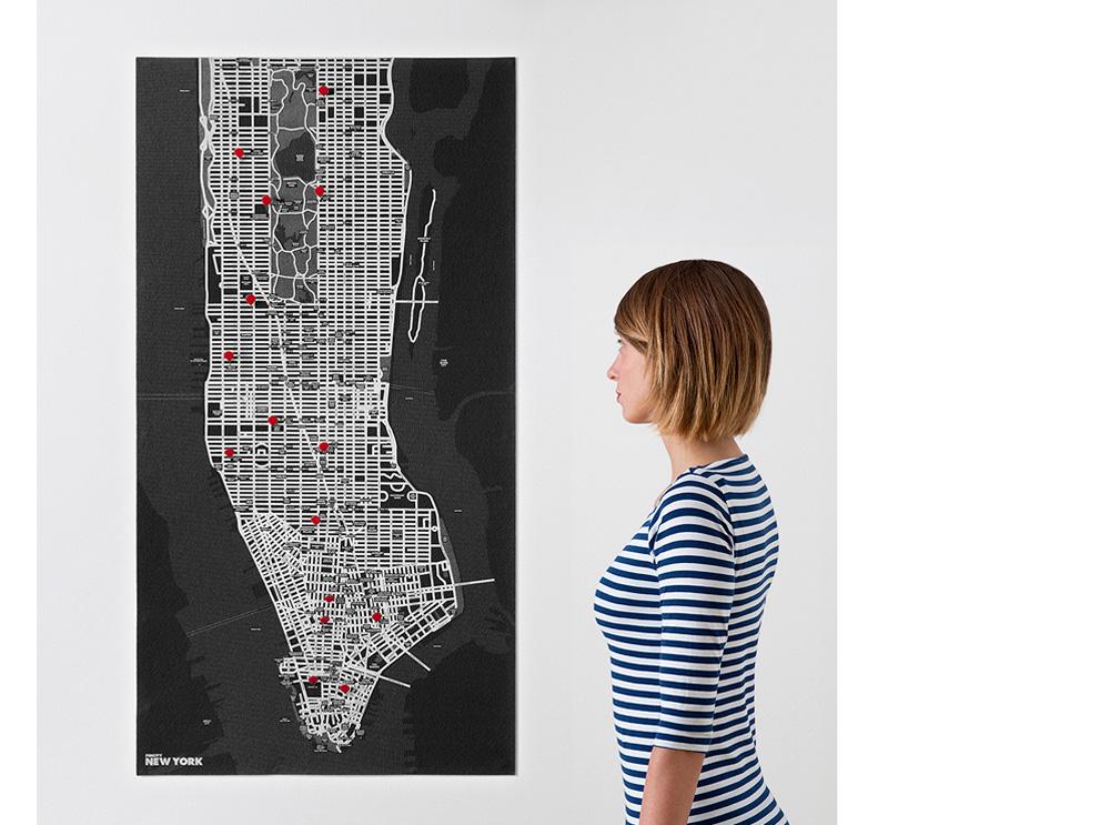 Νew Υork black χάρτης τοίχου Νέας Υόρκης