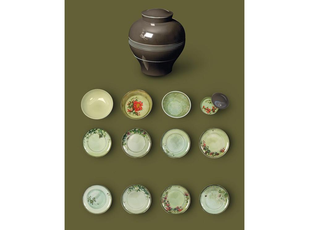Yuan-grey-plates βάζο πιάτων από μελαμίνη