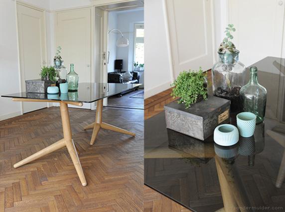 sander mulder crow table τραπέζι με γύαλινη επιφάνεια